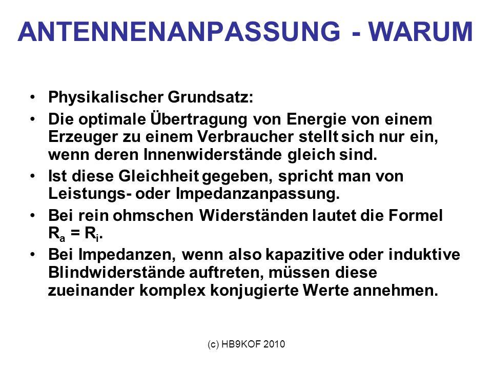 (c) HB9KOF 2010 ANTENNENANPASSUNG - WARUM Beispiel: U o = Generatorspannung R i = Innenwiderstand Quelle R a = Lastwiderstand U a = Lastspannung I a = Laststrom P o = Generator-Verlustleistung P a = Ausgangsleistung P tot = Gesamtleistung