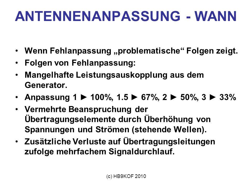 (c) HB9KOF 2010 ANTENNENANPASSUNG - WANN Wenn Fehlanpassung problematische Folgen zeigt. Folgen von Fehlanpassung: Mangelhafte Leistungsauskopplung au