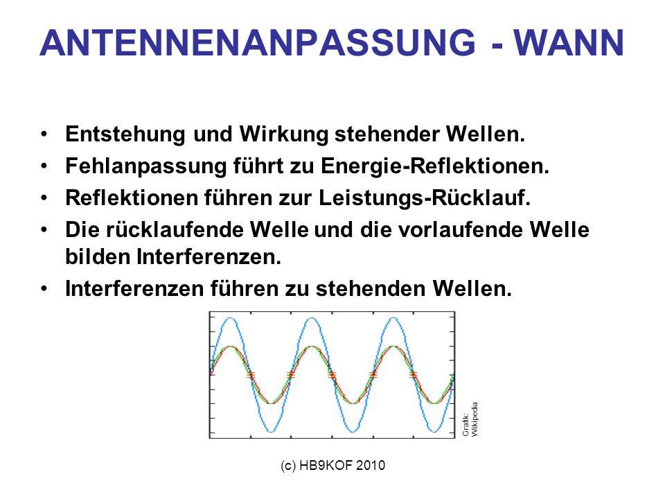 (c) HB9KOF 2010 Grafik: Wikipedia ANTENNENANPASSUNG Betrachtungen zu Antennen allgemein: Eine Antenne ist ein elektrische und magnetische Felder zulassender Leiter, der elektromagnetische Wellen aussendet oder empfängt.