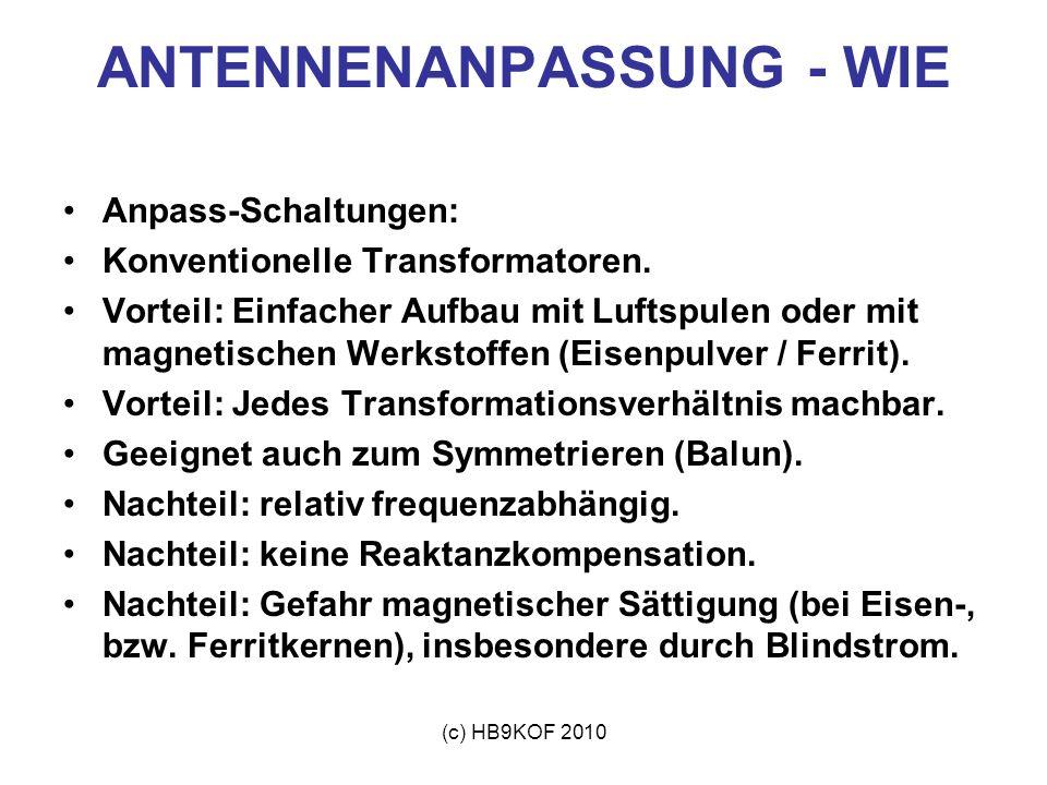 (c) HB9KOF 2010 ANTENNENANPASSUNG - WIE Anpass-Schaltungen: Konventionelle Transformatoren. Vorteil: Einfacher Aufbau mit Luftspulen oder mit magnetis