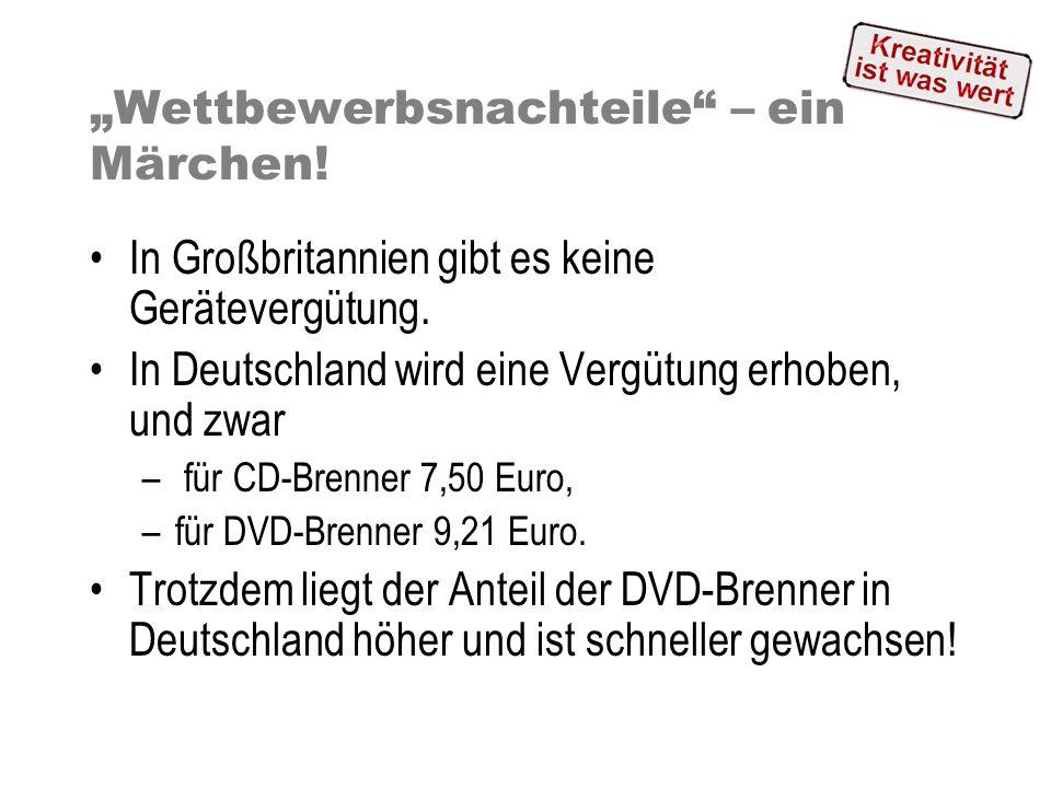 Wettbewerbsnachteile – ein Märchen! In Großbritannien gibt es keine Gerätevergütung. In Deutschland wird eine Vergütung erhoben, und zwar – für CD-Bre