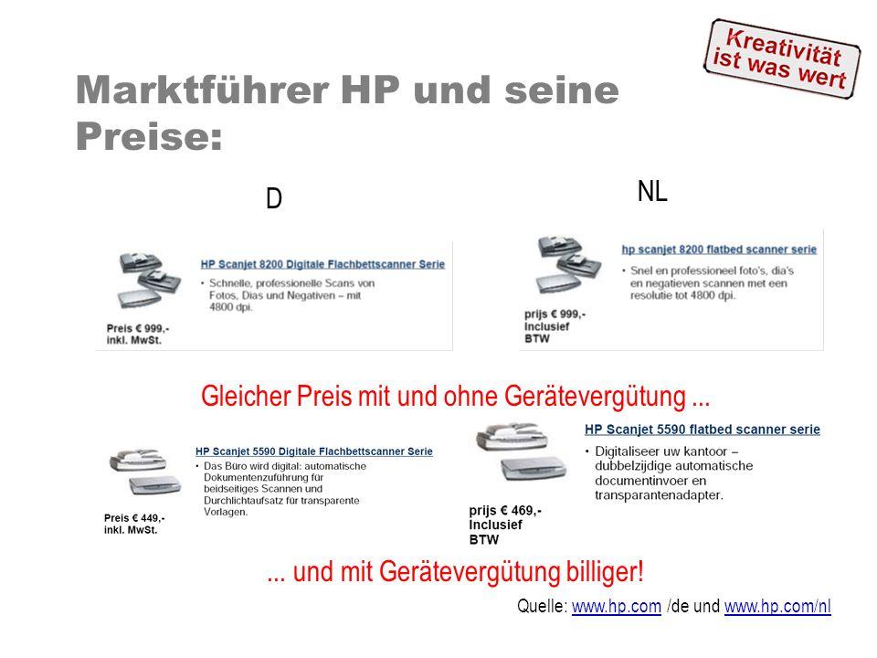 Marktführer HP und seine Preise: Gleicher Preis mit und ohne Gerätevergütung...... und mit Gerätevergütung billiger! Quelle: www.hp.com /de und www.hp
