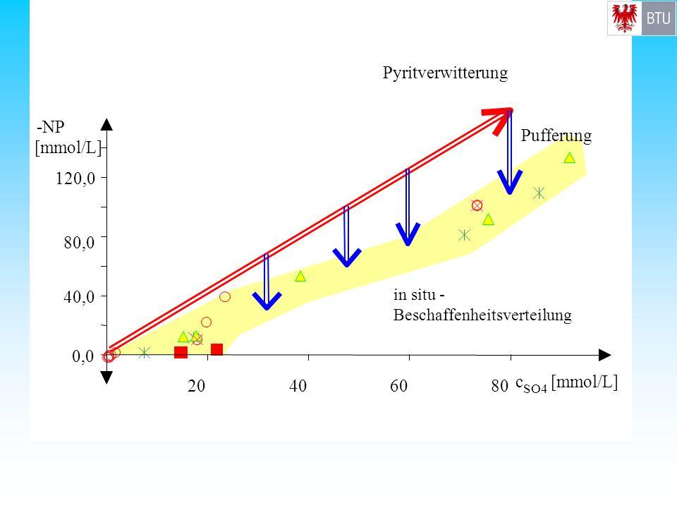 0,0 40,0 80,0 120,0 -NP [mmol/L] 20406080 c SO4 [mmol/L] Pyritverwitterung Pufferung in situ - Beschaffenheitsverteilung