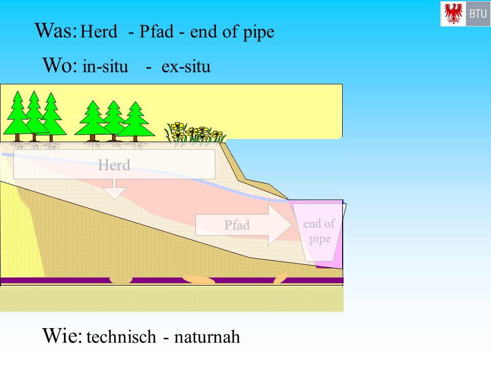 Wie: technisch - naturnah Wo: in-situ - ex-situ Was: Herd - Pfad - end of pipe Pfad Herd end of pipe