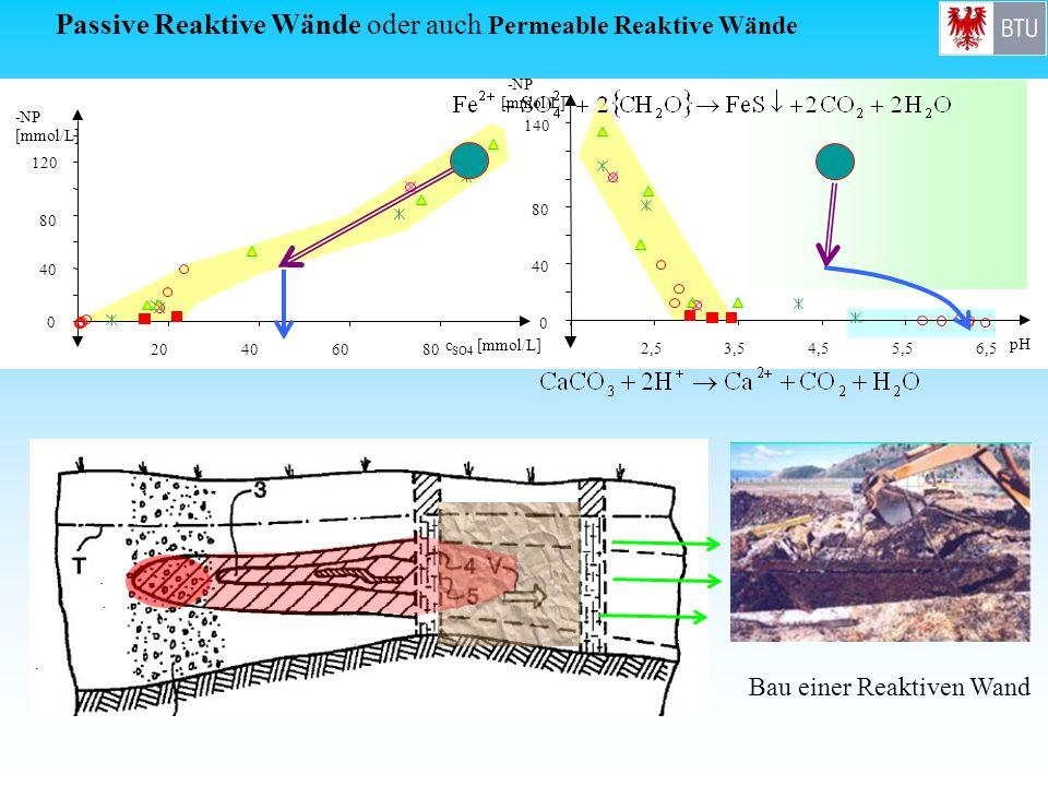 0 40 80 120 -NP [mmol/L] 20406080 c SO4 [mmol/L] Bau einer Reaktiven Wand Passive Reaktive Wände oder auch Permeable Reaktive Wände