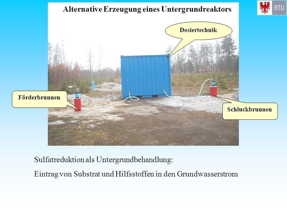 Alternative Erzeugung eines Untergrundreaktors Förderbrunnen Schluckbrunnen Dosiertechnik Sulfatreduktion als Untergrundbehandlung: Eintrag von Substr