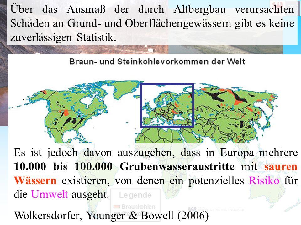 Es ist jedoch davon auszugehen, dass in Europa mehrere 10.000 bis 100.000 Grubenwasseraustritte mit sauren Wässern existieren, von denen ein potenziel