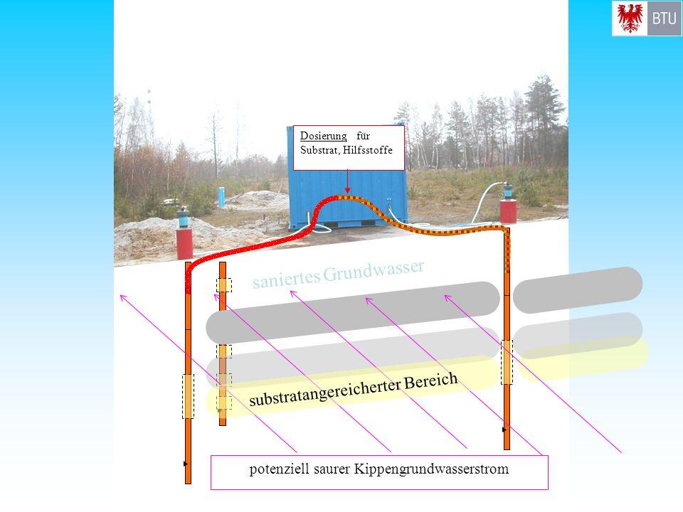 potenziell saurer Kippengrundwasserstrom Dosierung für Substrat, Hilfsstoffe saniertes Grundwasser substratangereicherter Bereich
