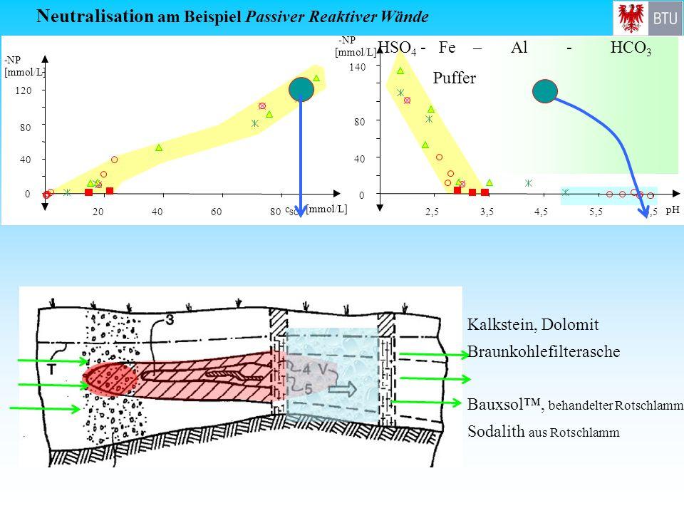 0 40 80 120 -NP [mmol/L] 20406080 c SO4 [mmol/L] Neutralisation am Beispiel Passiver Reaktiver Wände HSO 4 - Fe – Al - HCO 3 Puffer Kalkstein, Dolomit
