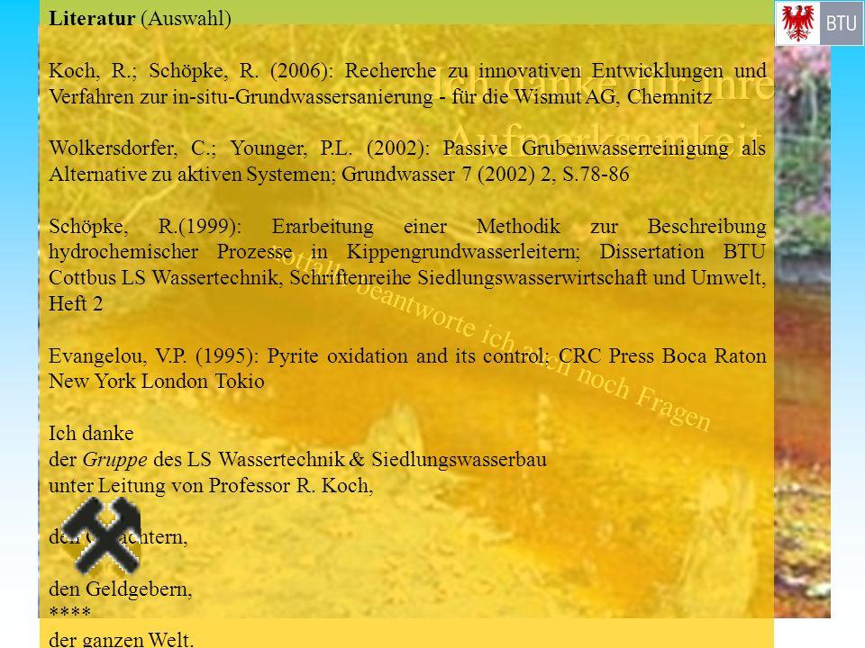 notfalls beantworte ich auch noch Fragen Literatur (Auswahl) Koch, R.; Schöpke, R. (2006): Recherche zu innovativen Entwicklungen und Verfahren zur in