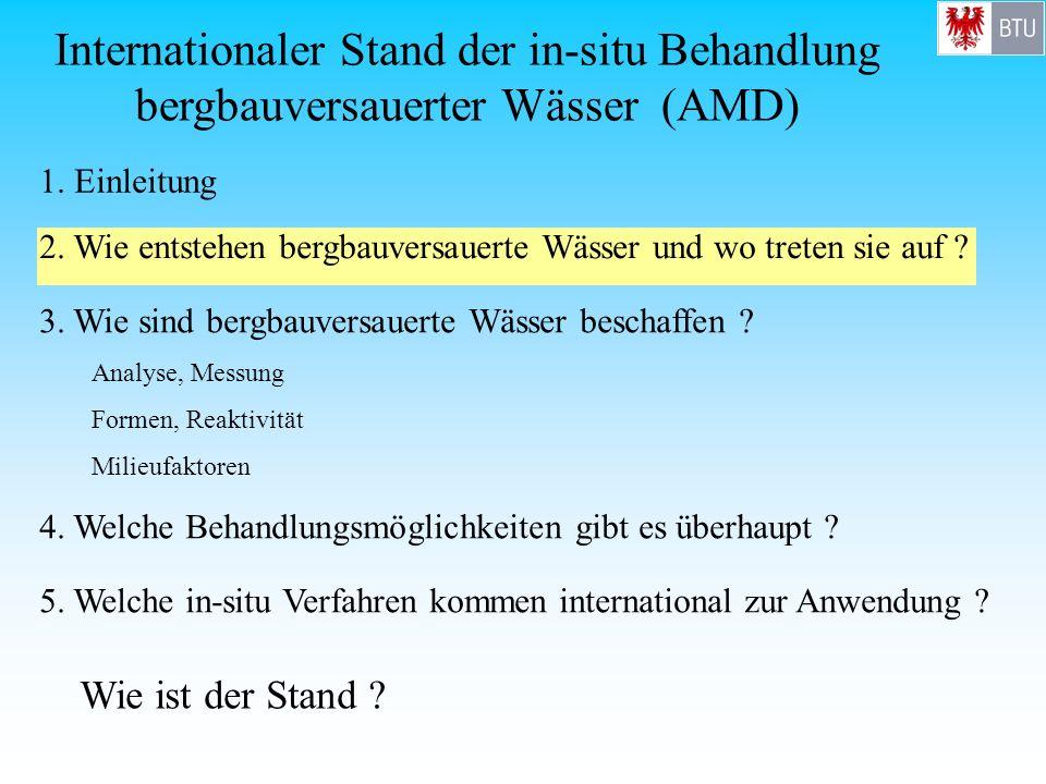 Internationaler Stand der in-situ Behandlung bergbauversauerter Wässer (AMD) 1. Einleitung 3. Wie sind bergbauversauerte Wässer beschaffen ? Analyse,