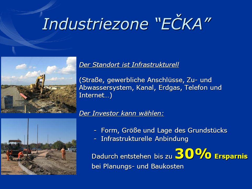Industriezone EČKA Der Standort ist Infrastrukturell (Straße, gewerbliche Anschlüsse, Zu- und Abwassersystem, Kanal, Erdgas, Telefon und Internet…) De