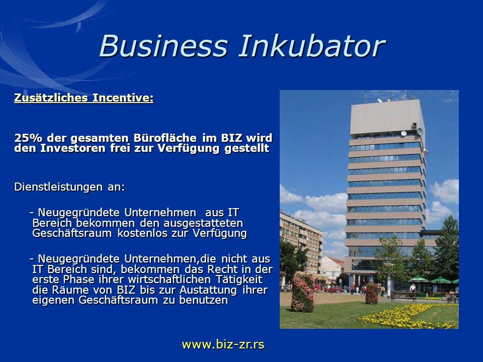 Business Inkubator Zusätzliches Incentive: 25% der gesamten Bürofläche im BIZ wird den Investoren frei zur Verfügung gestellt Dienstleistungen an: - N