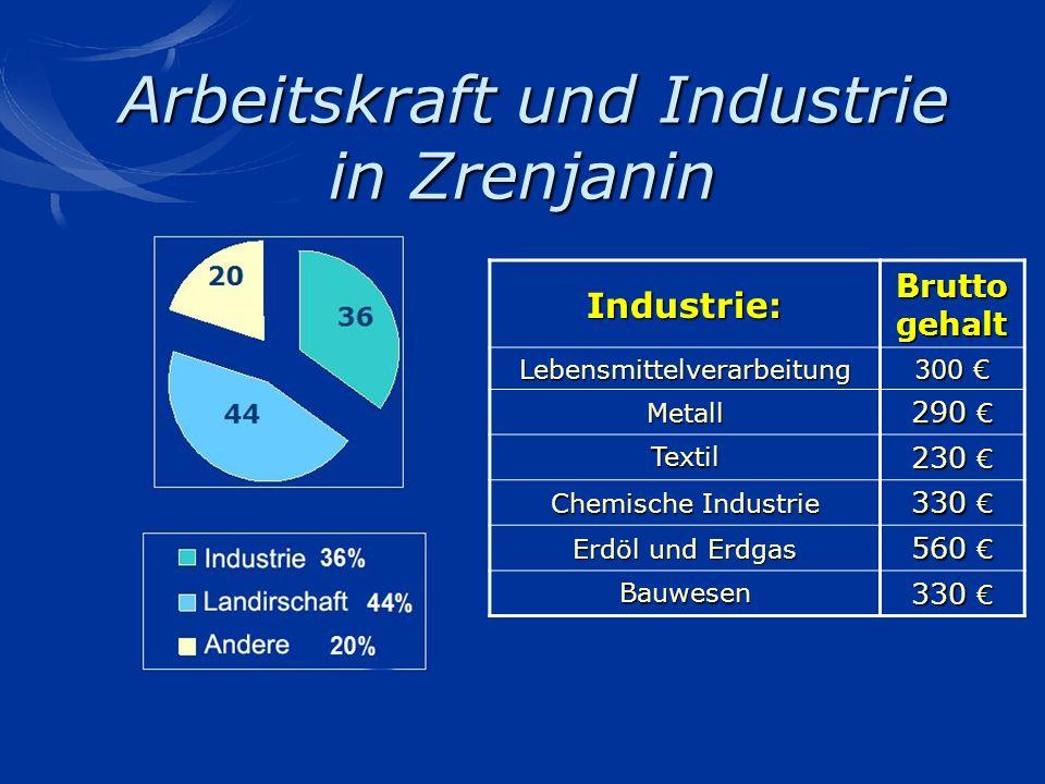 Arbeitskraft und Industrie in Zrenjanin Arbeitskraft und Industrie in Zrenjanin 20 36 44 Industrie: Brutto gehalt Lebensmittelverarbeitung 300 300 Met