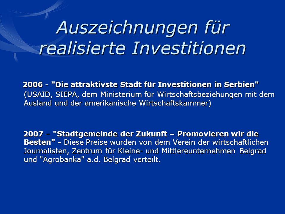 Auszeichnungen für realisierte Investitionen 2006 -