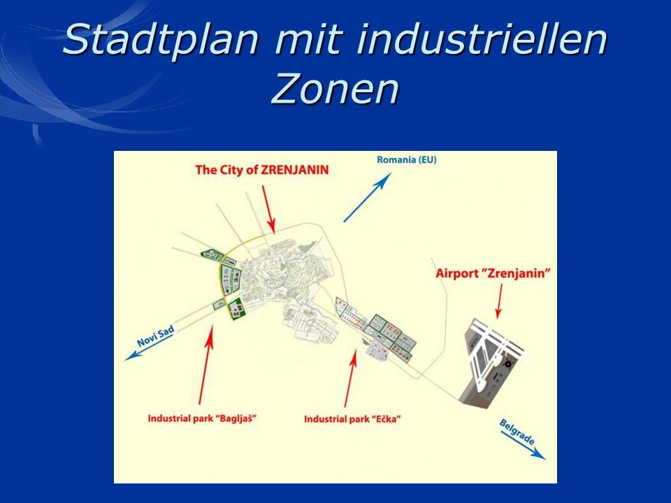 Stadtplan mit industriellen Zonen
