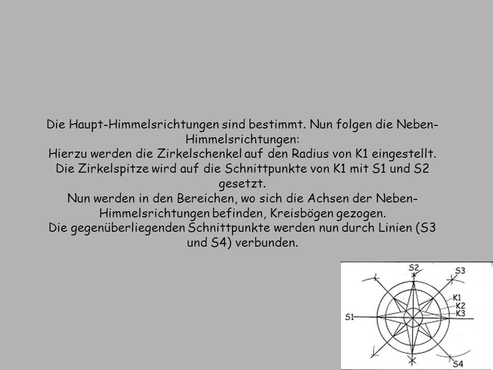 Die Haupt-Himmelsrichtungen sind bestimmt. Nun folgen die Neben- Himmelsrichtungen: Hierzu werden die Zirkelschenkel auf den Radius von K1 eingestellt
