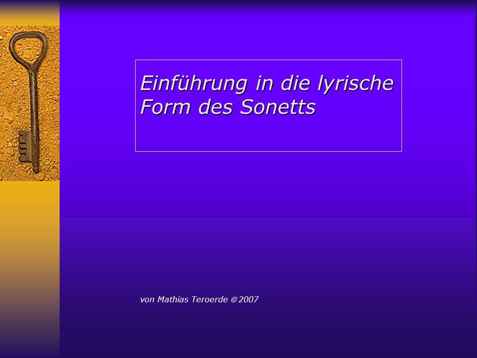 Einführung in die lyrische Form des Sonetts von Mathias Teroerde 2007