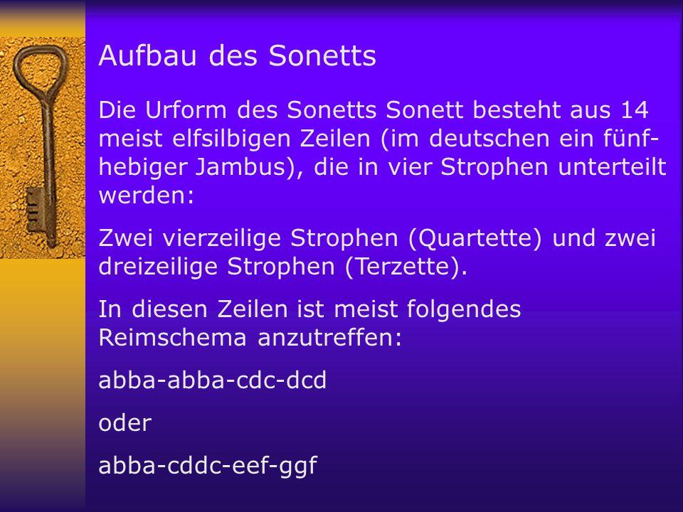 Aufbau des Sonetts Die Urform des Sonetts Sonett besteht aus 14 meist elfsilbigen Zeilen (im deutschen ein fünf- hebiger Jambus), die in vier Strophen unterteilt werden: Zwei vierzeilige Strophen (Quartette) und zwei dreizeilige Strophen (Terzette).