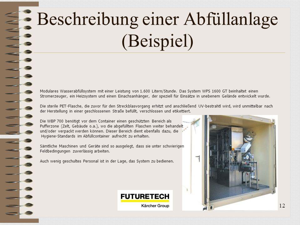 12 Beschreibung einer Abfüllanlage (Beispiel) Modulares Wasserabfüllsystem mit einer Leistung von 1.600 Litern/Stunde. Das System WPS 1600 GT beinhalt