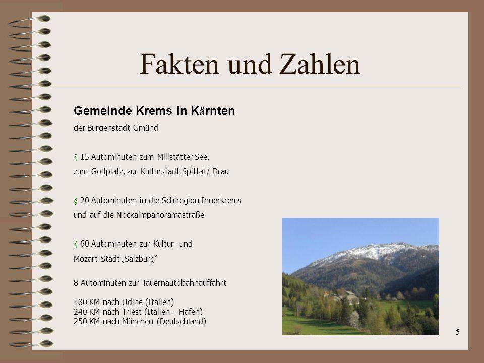 5 Fakten und Zahlen Gemeinde Krems in K ä rnten der Burgenstadt Gmünd § 15 Autominuten zum Millstätter See, zum Golfplatz, zur Kulturstadt Spittal / D