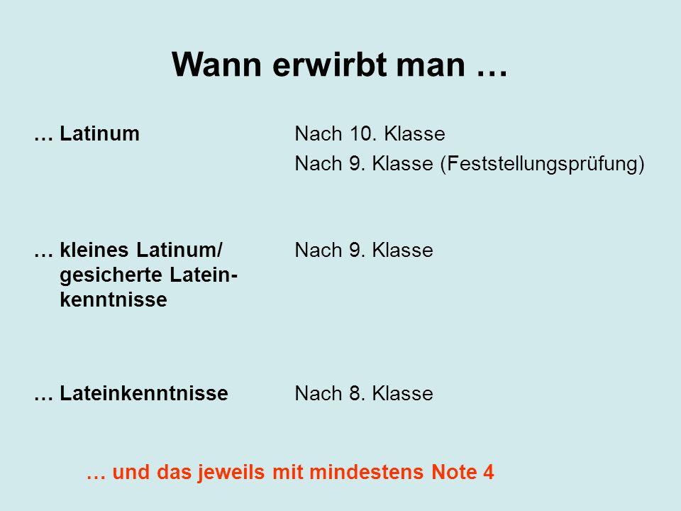 … Latinum … kleines Latinum/ gesicherte Latein- kenntnisse … Lateinkenntnisse Nach 10. Klasse Nach 9. Klasse (Feststellungsprüfung) Nach 9. Klasse Nac
