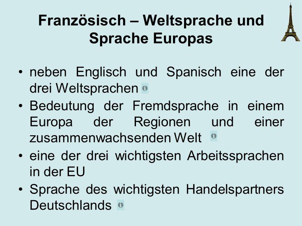 Französisch – Weltsprache und Sprache Europas neben Englisch und Spanisch eine der drei Weltsprachen Bedeutung der Fremdsprache in einem Europa der Re