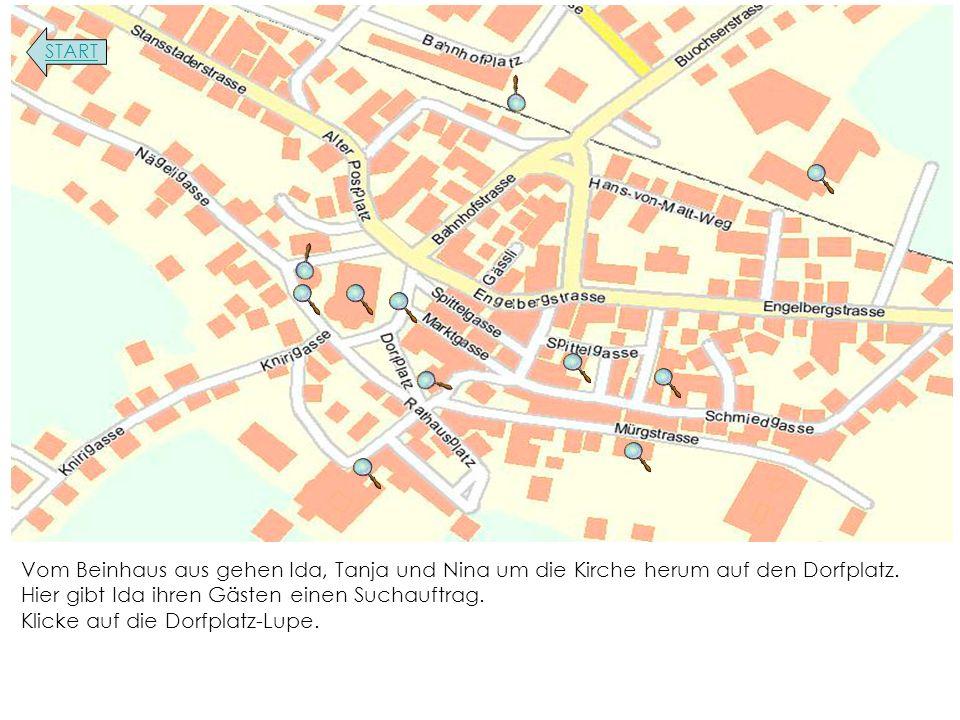 Vom Beinhaus aus gehen Ida, Tanja und Nina um die Kirche herum auf den Dorfplatz.