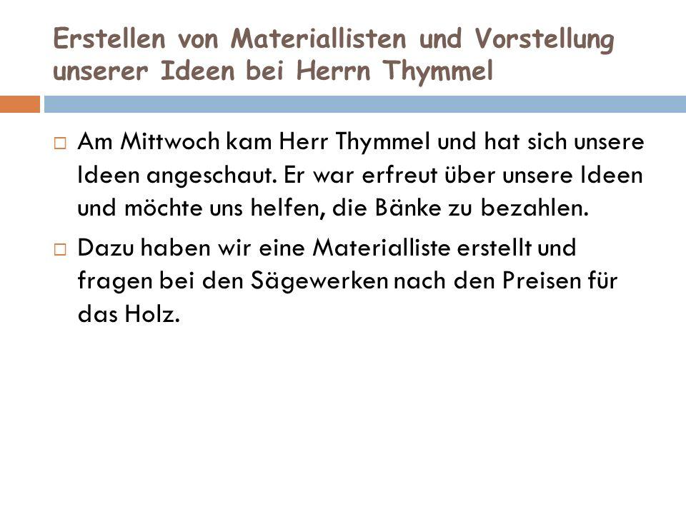 Erstellen von Materiallisten und Vorstellung unserer Ideen bei Herrn Thymmel Am Mittwoch kam Herr Thymmel und hat sich unsere Ideen angeschaut.