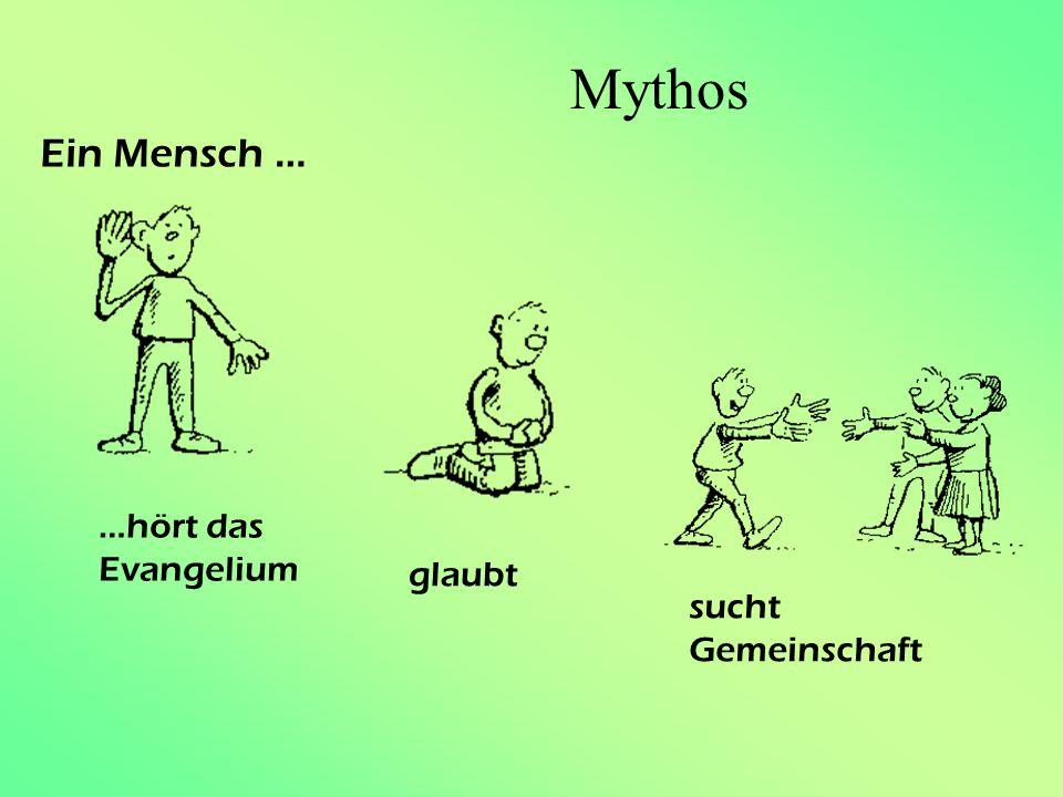 Mythos Ein Mensch … …hört das Evangelium glaubt sucht Gemeinschaft