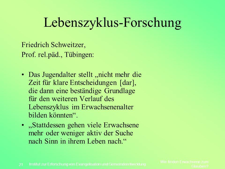 Lebenszyklus-Forschung Friedrich Schweitzer, Prof. rel.päd., Tübingen: Das Jugendalter stellt nicht mehr die Zeit für klare Entscheidungen [dar], die