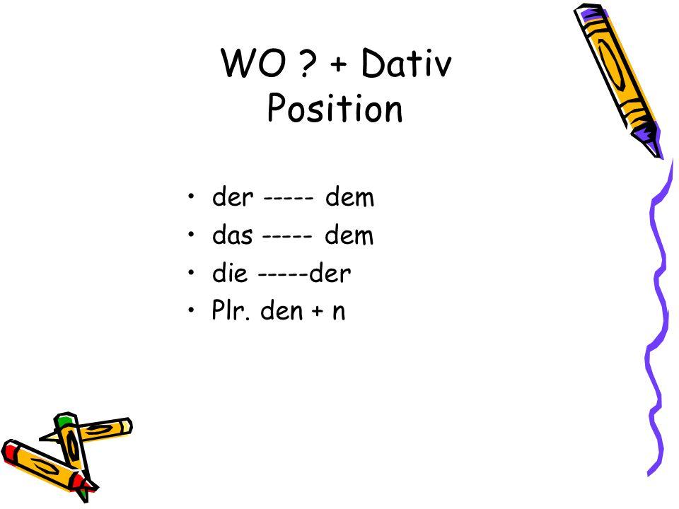 WO ? + Dativ Position der ----- dem das ----- dem die -----der Plr. den + n