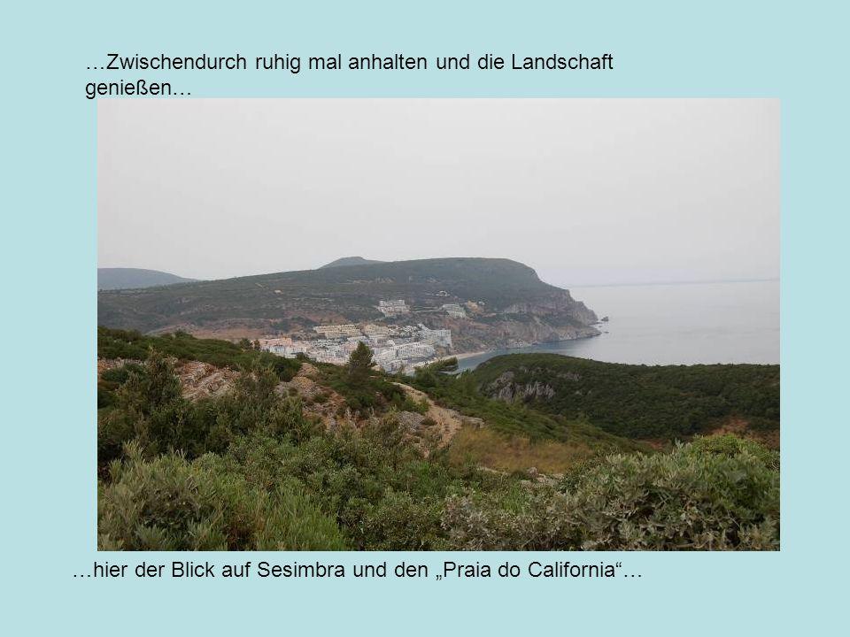 …Zwischendurch ruhig mal anhalten und die Landschaft genießen… …hier der Blick auf Sesimbra und den Praia do California…