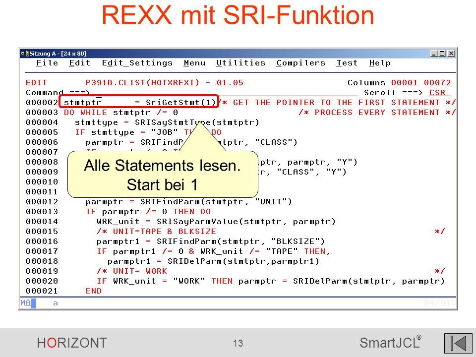 HORIZONT 13 SmartJCL ® REXX mit SRI-Funktion Alle Statements lesen. Start bei 1
