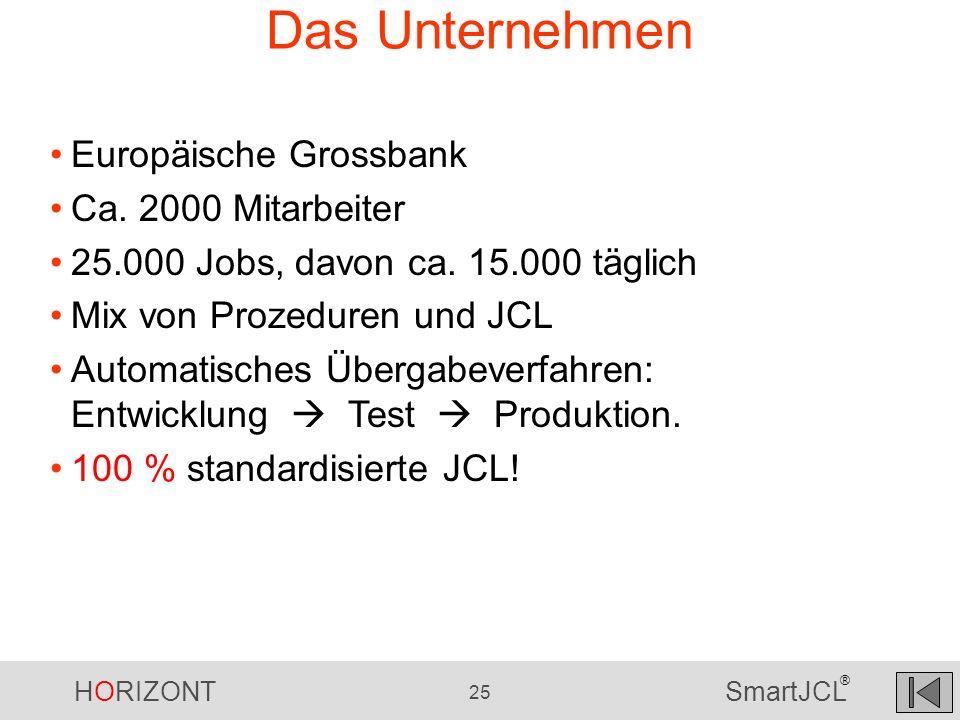 HORIZONT 25 SmartJCL ® Das Unternehmen Europäische Grossbank Ca. 2000 Mitarbeiter 25.000 Jobs, davon ca. 15.000 täglich Mix von Prozeduren und JCL Aut