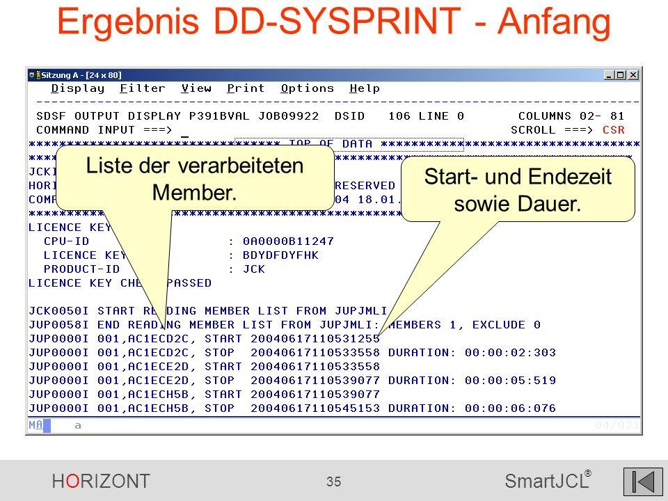 HORIZONT 35 SmartJCL ® Ergebnis DD-SYSPRINT - Anfang Liste der verarbeiteten Member. Start- und Endezeit sowie Dauer.