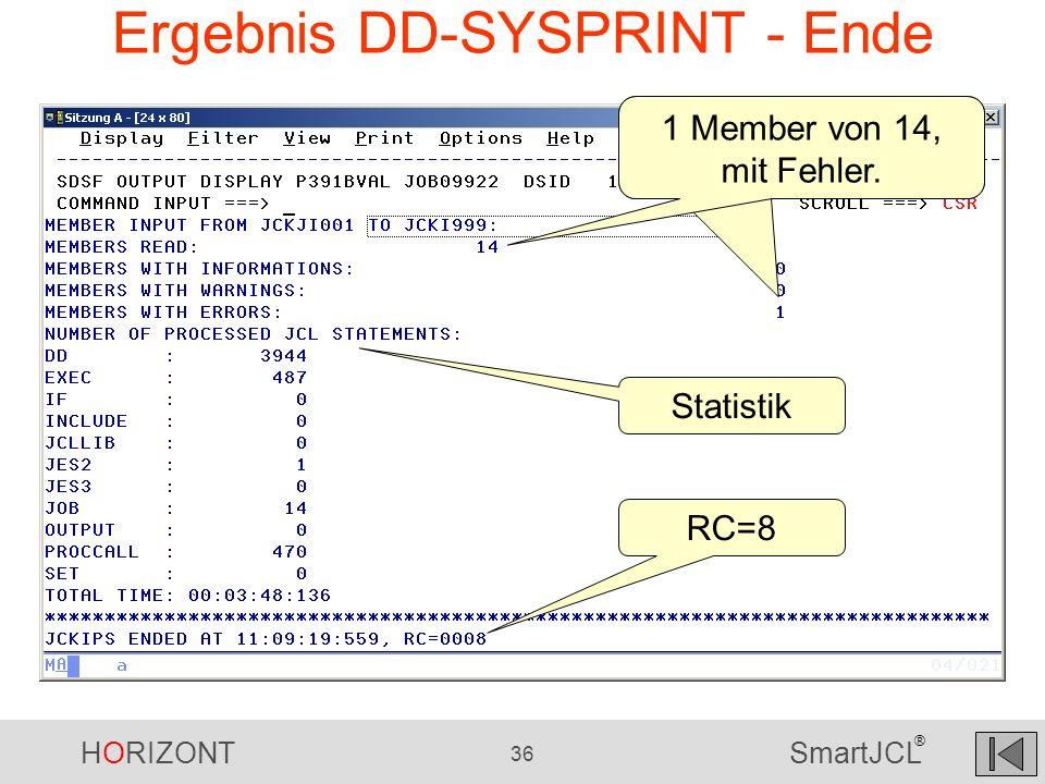 HORIZONT 36 SmartJCL ® Ergebnis DD-SYSPRINT - Ende 1 Member von 14, mit Fehler. Statistik RC=8 1 Member von 14, mit Fehler.