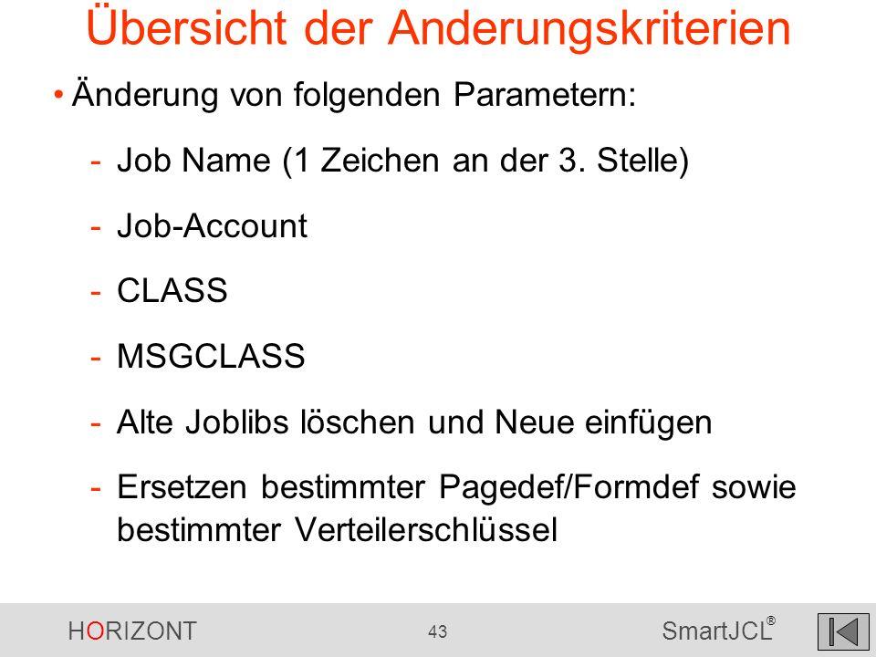HORIZONT 43 SmartJCL ® Übersicht der Anderungskriterien Änderung von folgenden Parametern: -Job Name (1 Zeichen an der 3. Stelle) -Job-Account -CLASS