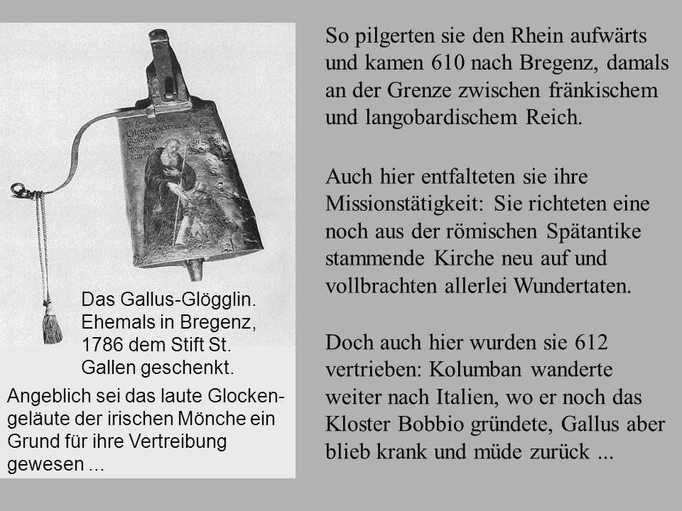 Bregenz Kolumban und Gallus auf der Fahrt über den See. Illustration in einer Handschrift aus 1452, Stiftsbibliothek St. Gallen. So pilgerten sie den
