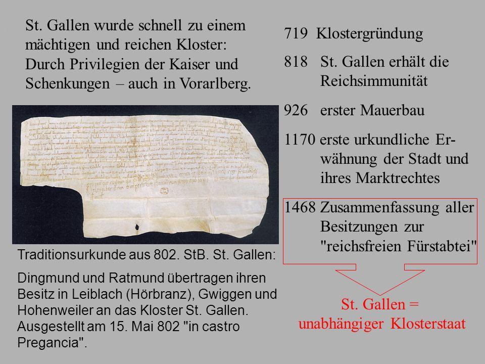 Entstehung des Klosterstaates St. Gallen wurde schnell zu einem mächtigen und reichen Kloster: Durch Privilegien der Kaiser und Schenkungen – auch in