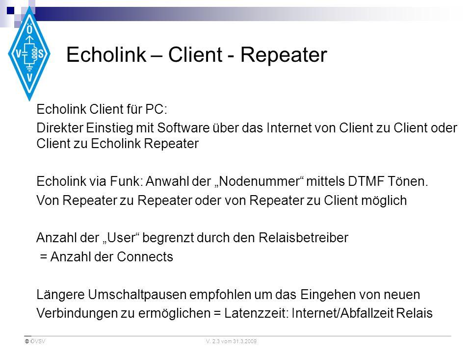 © ÖVSVV. 2.3 vom 31.3.2009 Echolink – Client - Repeater Echolink Client für PC: Direkter Einstieg mit Software über das Internet von Client zu Client