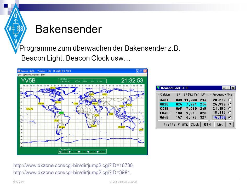 © ÖVSVV. 2.3 vom 31.3.2009 Bakensender Programme zum überwachen der Bakensender z.B. Beacon Light, Beacon Clock usw… http://www.dxzone.com/cgi-bin/dir