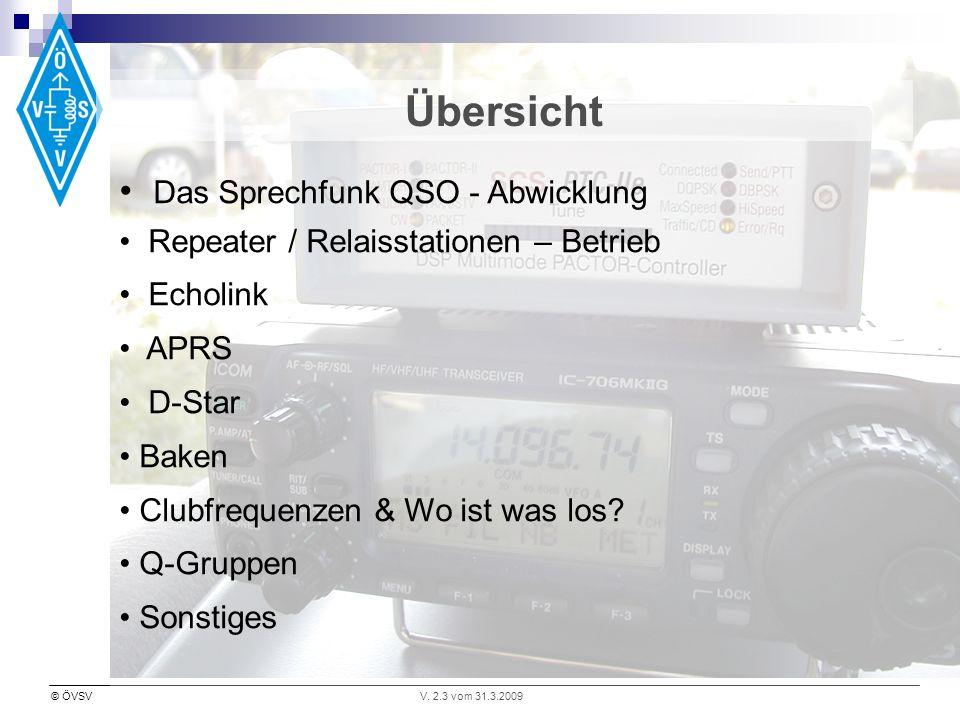 © ÖVSVV. 2.3 vom 31.3.2009 Übersicht Das Sprechfunk QSO - Abwicklung Repeater / Relaisstationen – Betrieb Echolink APRS D-Star Baken Clubfrequenzen &