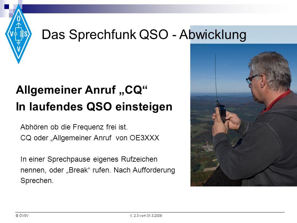 © ÖVSVV. 2.3 vom 31.3.2009 Abhören ob die Frequenz frei ist. CQ oder Allgemeiner Anruf von OE3XXX In einer Sprechpause eigenes Rufzeichen nennen, oder