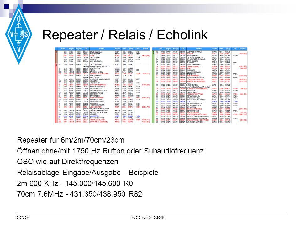 © ÖVSVV. 2.3 vom 31.3.2009 Repeater / Relais / Echolink Repeater für 6m/2m/70cm/23cm Öffnen ohne/mit 1750 Hz Rufton oder Subaudiofrequenz QSO wie auf