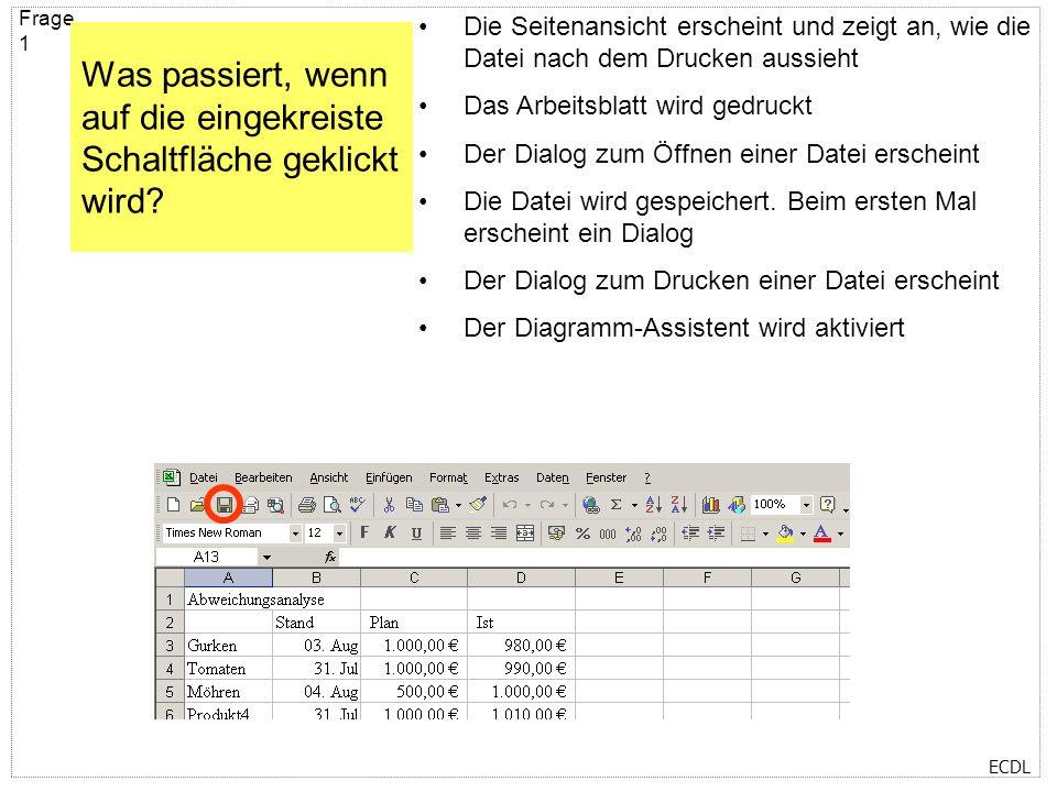 ECDL Selbsttest zum Modul 4 - Excel Wenn Sie auf den folgenden Seiten dieser PowerPoint Präsentation die Stelle mit der richtigen Antwort angeklickt h