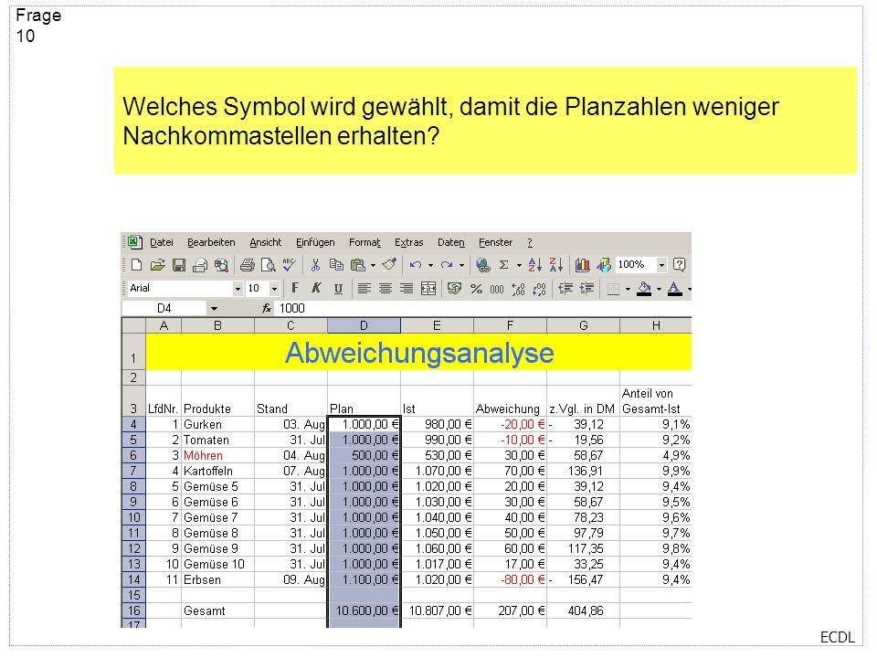 ECDL Frage 9 Welches Symbol wurde gewählt, damit die Überschrift Abweichungsanalyse gelb hinterlegt ist?