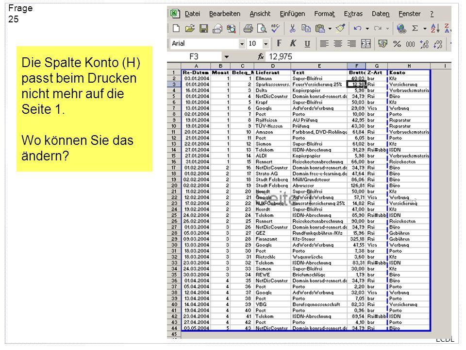 ECDL Frage 24 Um den Text im gelb hinterlegten Dokument zu lesen müssen Sie … Im Menü Datei – Öffnen wählen Im Menü Ansicht – Ganzer Bildschirm wählen