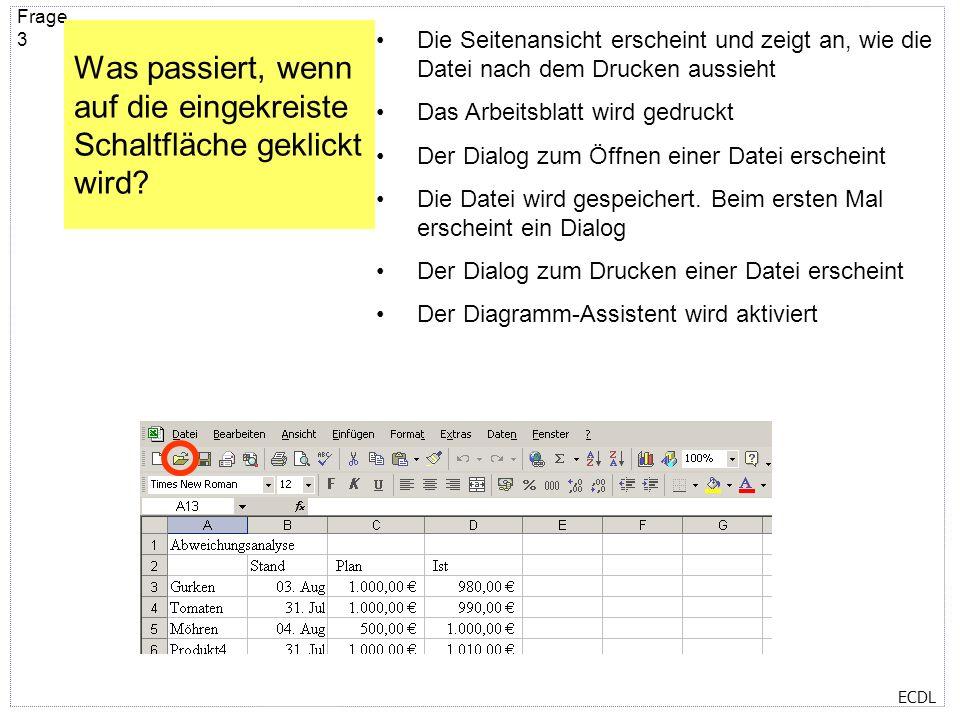 ECDL Frage 2 Wichtige Menübefehle sind auch über so genannte Shortcuts abrufbar. Unten sind einige aufgezählt. Welche Tastenkombination kopiert die ma