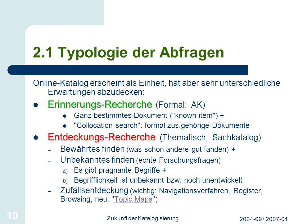 2004-09 / 2007-04 Zukunft der Katalogisierung 10 2.1 Typologie der Abfragen Online-Katalog erscheint als Einheit, hat aber sehr unterschiedliche Erwar